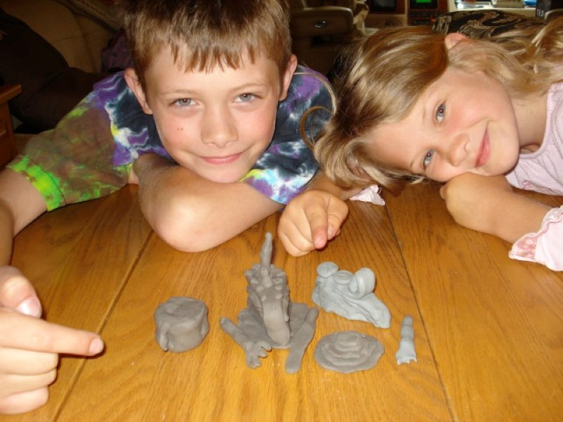 Mason and Maddie working with clay
